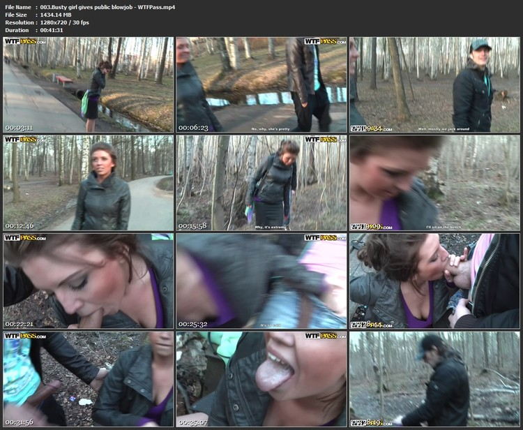 003.Busty girl gives public blowjob - WTFPass,