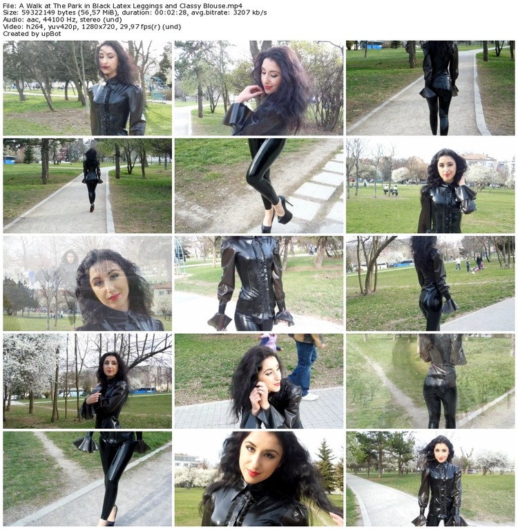 A Walk at The Park in Black Latex Leggings and Classy Blouse_thumb,