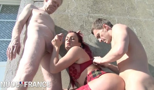 Feisty young redhead gets ass lubed by old man (Djuliana) NudeInFrance [SD]