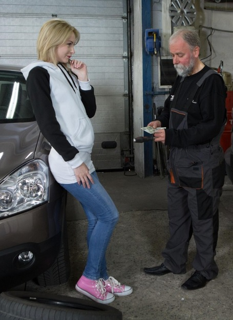 Alice Marshall in Blondie gets a special service in the garage