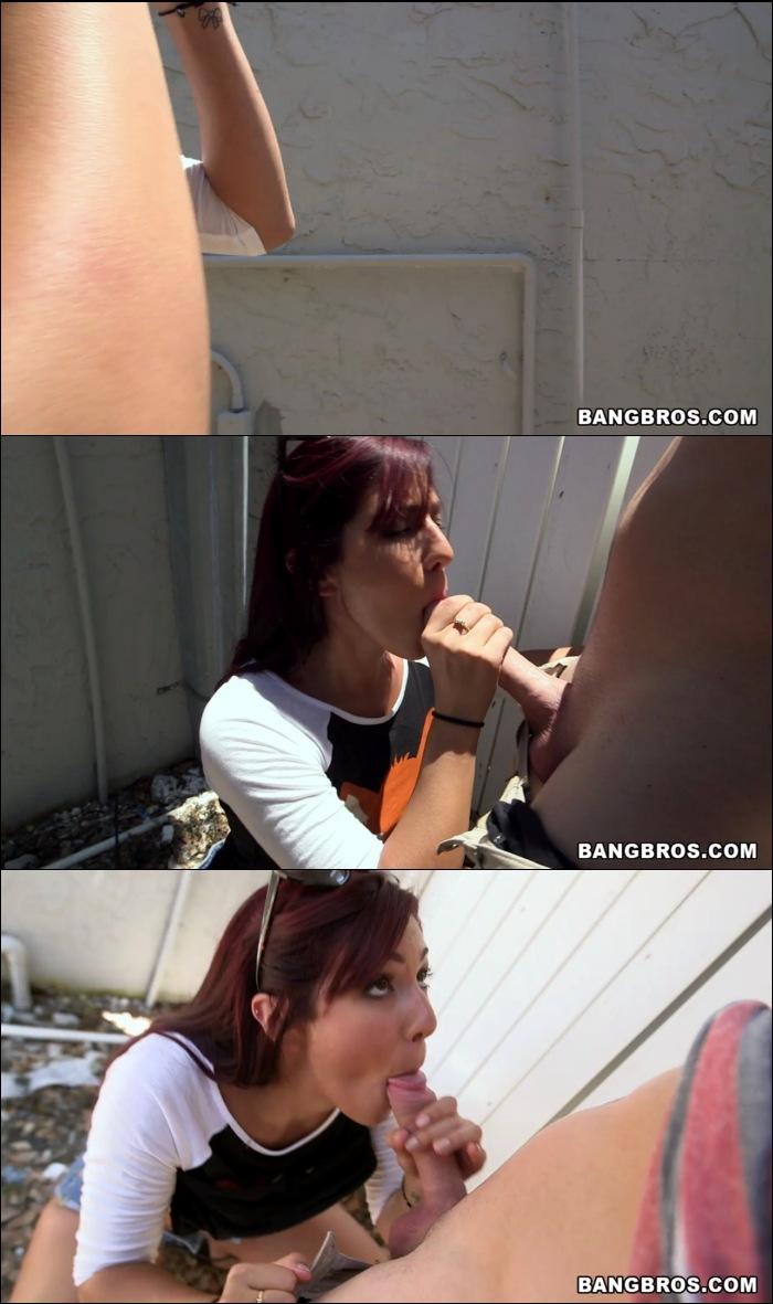 Facial - Sophia Steele - Cute Redhead Sucks Big Dick In Public [Amateur, Big Ass, Blowjob, Cumshot, Facial, Handjob, Natural Tit,