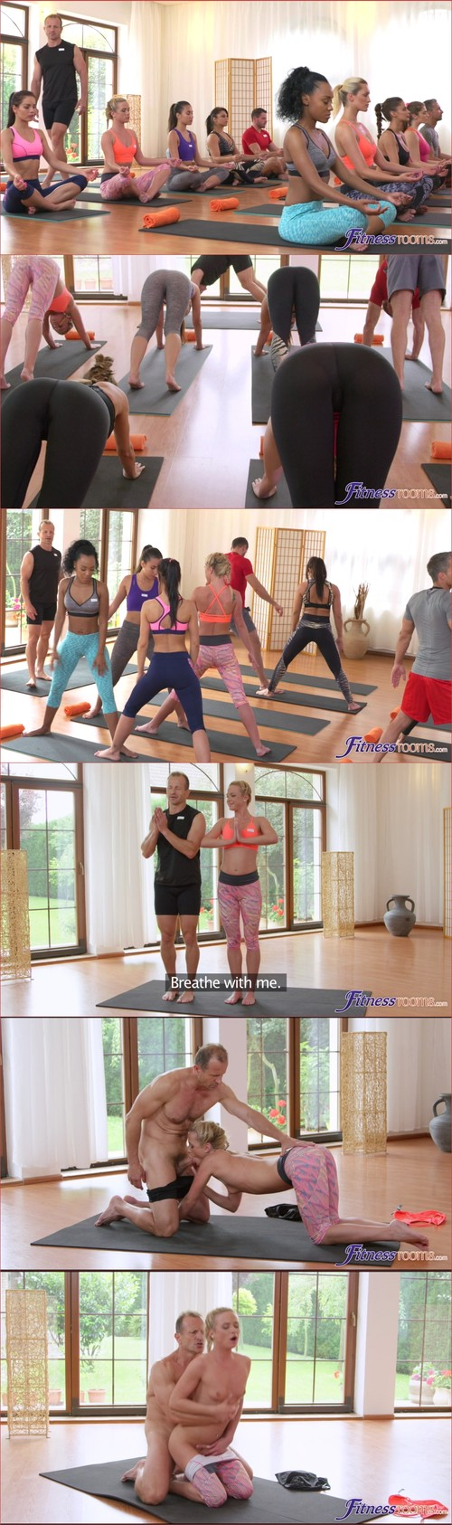 Group yoga class ends in creampie