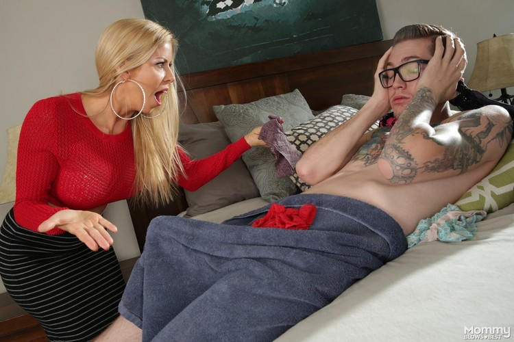 Mom caught stepson sniffing her panties